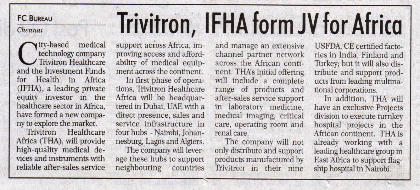 trivitron-ifha-launch-jv-to-provide-medical-devices-in-africa