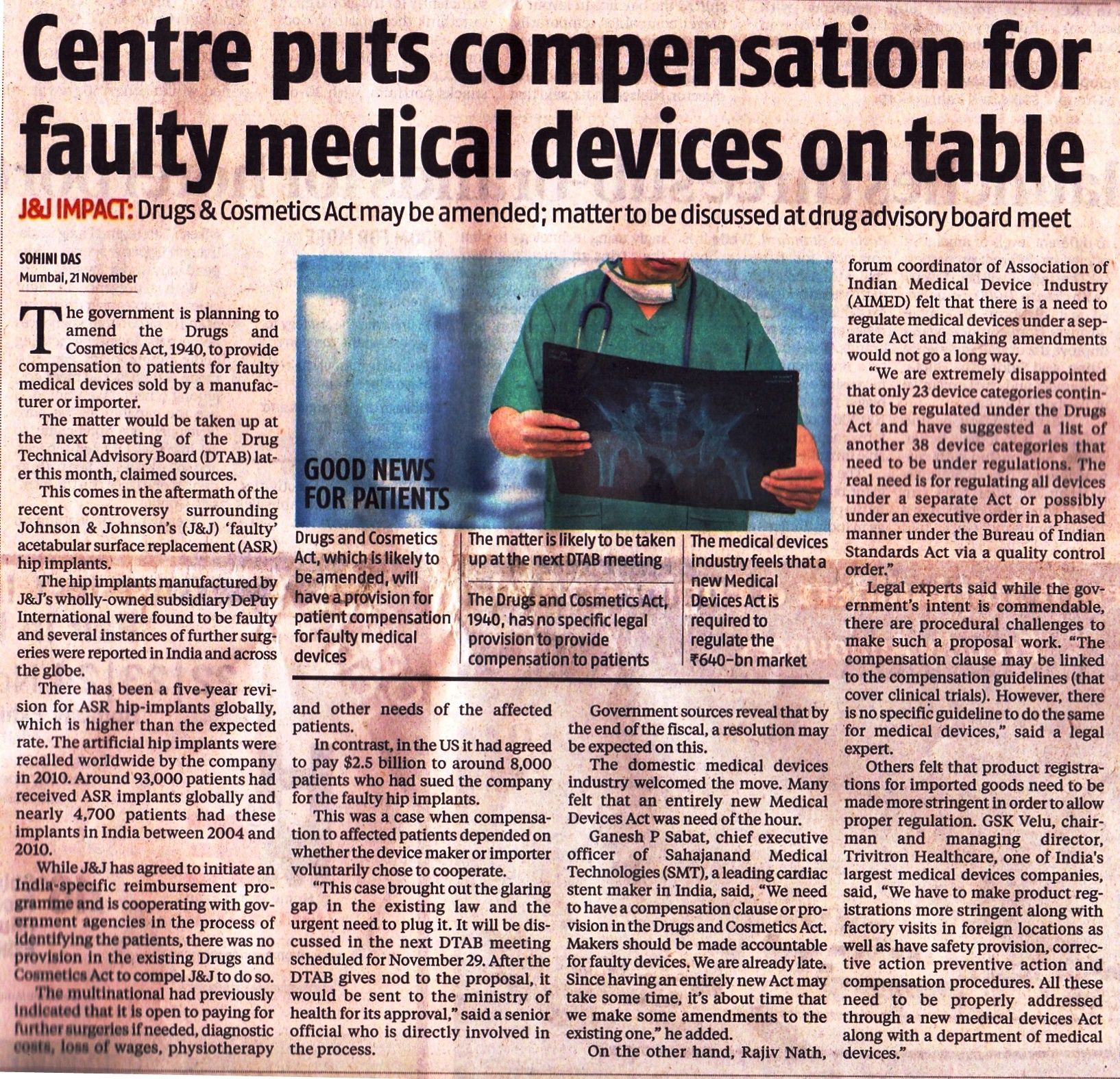centre-puts-compensation-for-faulty-medical-devices-on-table